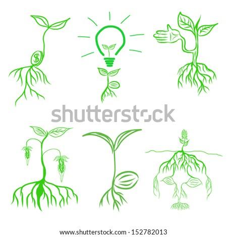 set tree concept hand draw vector. - stock vector