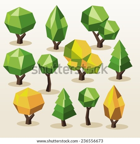 Set Tree Isometric. vector illustration - stock vector