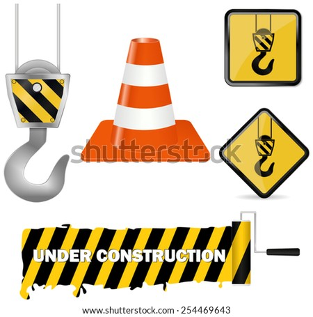 Set under construction- vector drawing isolated on white background - stock vector