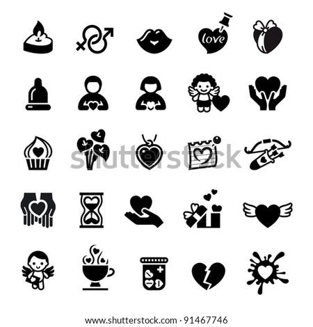 Set valentine's day icons, love romantic sign - stock vector