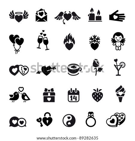 Set valentine's day objects, Love icon - stock vector