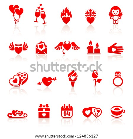 Set valentine's day red icon - stock vector