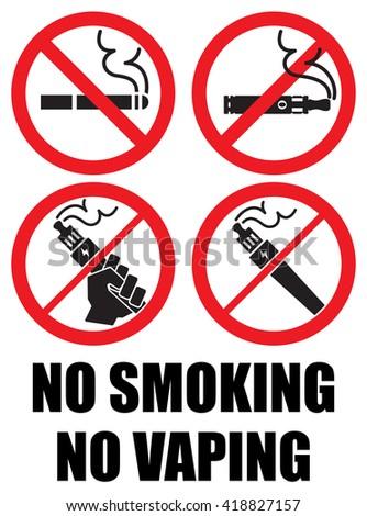 set vaping icons no smoking sign - stock vector