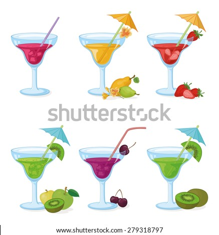 Set Vases and Glass with Drinks, Juice, Fruits and Berries. Eps10, Contains Transparencies. Vector - stock vector