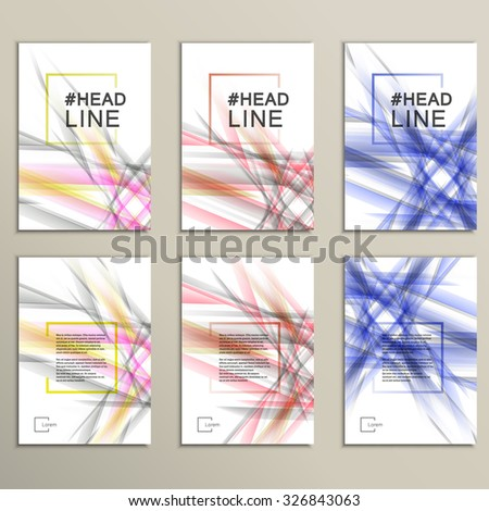 Set 6 vector abstract color wave design template. - stock vector