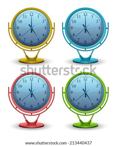 Set vector analog clock conceptual, 3D modern construction, Vector illustration Eps 10 - stock vector
