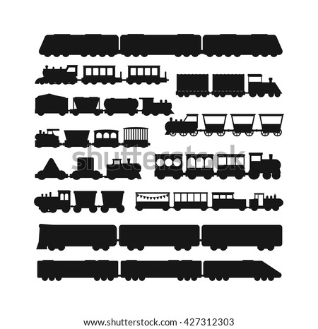 Set vector black silhouette silhouettes of trains. Trains silhouette locomotives with different wagons. Trains black silhouette locomotive transportation trains silhouette freight sign rail traffic. - stock vector