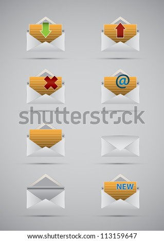 Set vector e mail and message icons. - stock vector