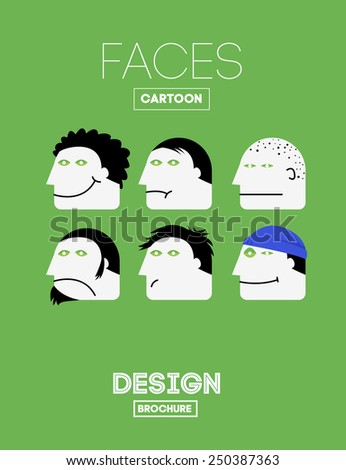 Set Vector Funny Emotions Head or Face on Cartoon Style with Different Hairstyles and Headgear. With Joy, Sadness, Indifference, Sadness, Depression, Laughter, Boredom, Satisfaction Emotions. - stock vector