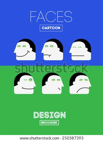 Set Vector Funny Emotions Head or Face on Cartoon Style. With Joy, Sadness, Indifference, Sadness, Depression, Laughter, Boredom, Satisfaction Emotions. - stock vector