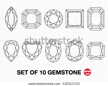 Set 10 vector gemstones on graph paper. Vector illustration. - stock vector