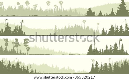 Set vector horizontal banners of misty coniferous forest hills with glades (green tone). - stock vector