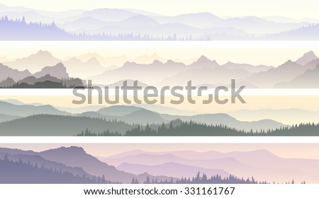 Set vector horizontal banners of morning misty coniferous forest hills. - stock vector