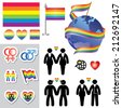 set vector icons and symbols of homosexual relationship - stock vector