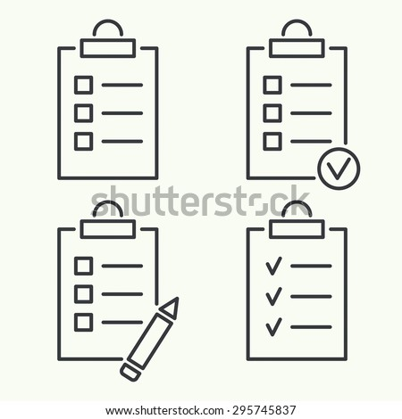Set vector icons. clipboard with to do list and pencil. Lines with check boxes. checklist for note. consent. check mark. election and voting. outline. minimal - stock vector