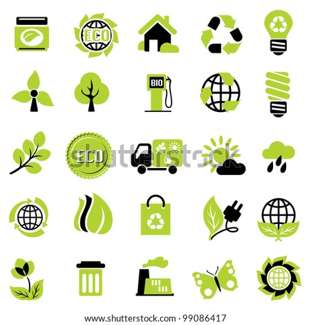 set vector icons of ecological signs and symbol - stock vector