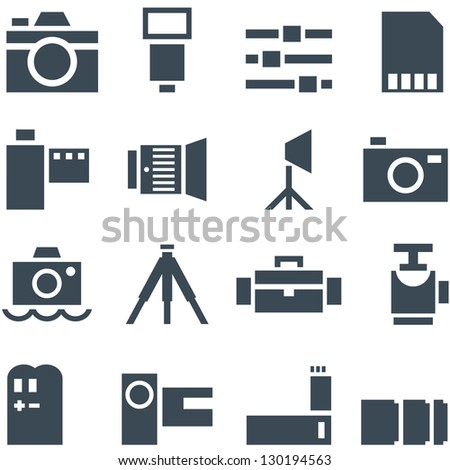 Set vector icons photo accessories for decoration and web design. - stock vector