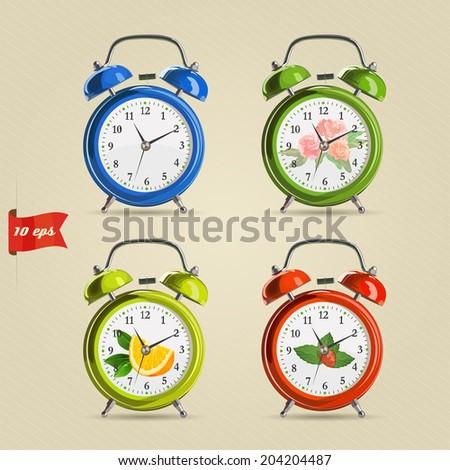 Set vector illustration of realistic colorful alarm clock. - stock vector