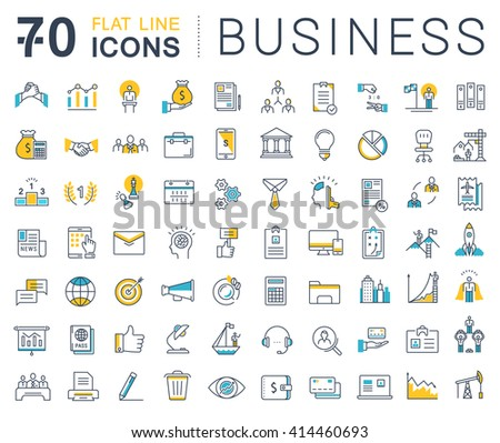 Set vector line icons in flat design business, finance and teamwork with elements for mobile concepts and web apps. Collection modern infographic logo and pictogram. - stock vector