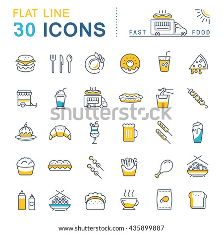 Set vector line icons in flat design fast food, Chinese food and junk food with elements for mobile concepts and web apps. Collection modern infographic logo and pictogram. - stock vector