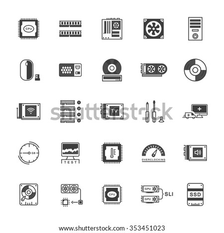 Set vector line icons upgrading computer and hardware, overclocking, cooling, test cpu and gpu with elements for mobile concepts and web apps. Collection modern infographic logo and pictogram - stock vector