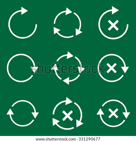 Set vector of flat icons with shadow and modern design arrow - stock vector