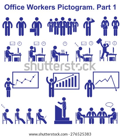 Set vector office workers pictograms. Business icons and symbols of people - stock vector