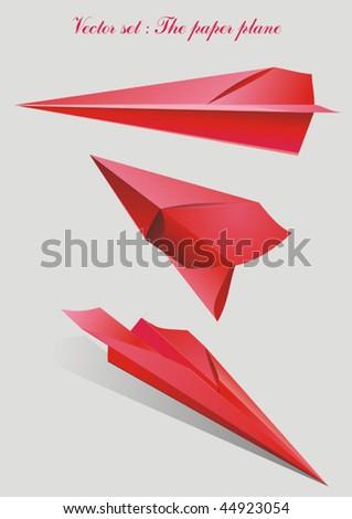 Set vector - paper plane red - stock vector