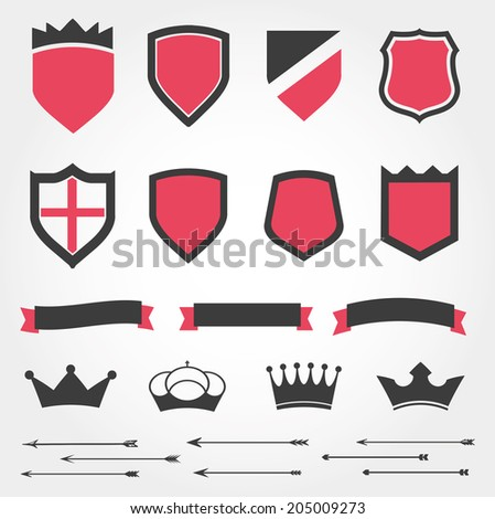 Set vector shields heraldic crowns ribbons arrows - stock vector