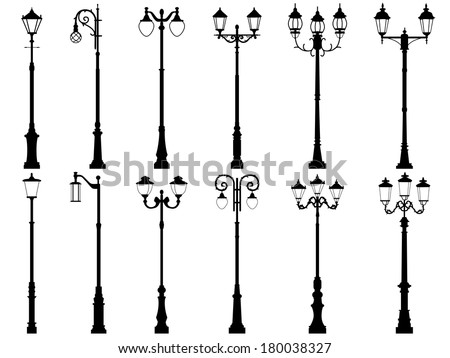 Set vector silhouettes of vintage artistic decorative lamppost, isolated on white. - stock vector
