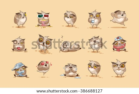 Set Vector Stock Illustrations isolated Emoji character cartoon owl stickers emoticons with different emotions for site, infographics, video, animation, websites, e-mails, newsletters, reports, comics - stock vector