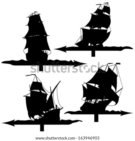 Set vector weather vanes silhouettes (sailing ships of the 17th century). - stock vector