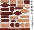 Set vector Wooden labels - stock vector