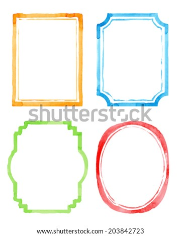 Set vintage artistic frames. Watercolor background. Vector illustration. Drawing by hand - stock vector