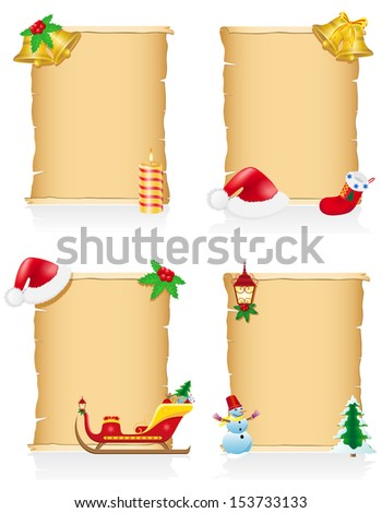 set vintage christmas blank scroll vector illustration isolated on white background - stock vector