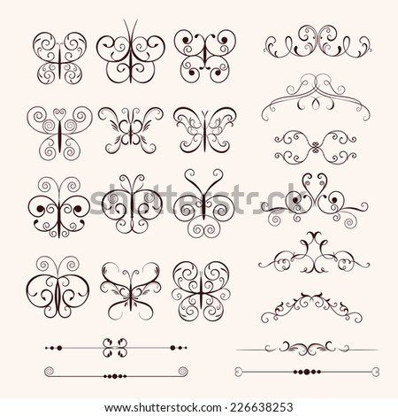 Set vintage decorative butterflies, frames, borders for design frameworks and banners. Can use for birthday card, wedding invitations - stock vector