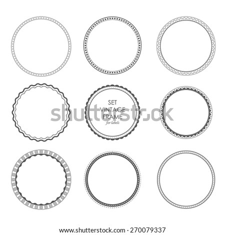 set vintage frame for emblems, labels, logos, badges. Design circles elements monochrome style - stock vector