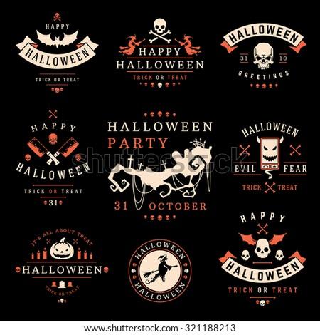 Set Vintage Happy Halloween Badges and Labels vector design elements - stock vector