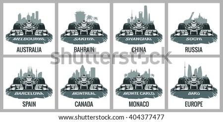 Set vintage poster Grand Prix formula 1. Barcelona, Spain, Montreal, Canada, Monte Carlo, Monaco, Baku, Europe, Melbourne, Australia, Sakhir, Bahrain, Shanghai, China, Sochi, f1 Russia.  - stock vector