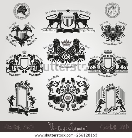 set vintage silhouette heraldic labels with pattern and animals, eagle lion tiger leopard bird lion head - stock vector