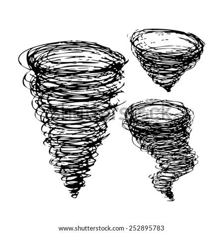 set vortex tornado wind. Vector  - stock vector