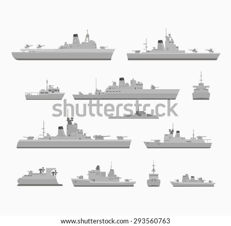 Set warships for design and creativity - stock vector