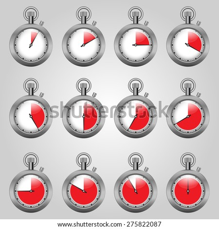 set watches, watches with a red zone - stock vector