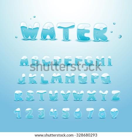 set water alphabet - stock vector
