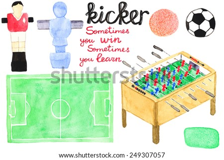 Set watercolor foosball  or kicker design elements, aquarelle. Vector illustration. Hand-drawn decorative pieces useful for invitations, scrapbooking, design. Hobby and sport - stock vector