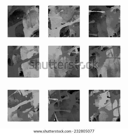 Set watercolor monochrome backgrounds, blocks, square paint stains isolated. Frames. Art abstract  - stock vector