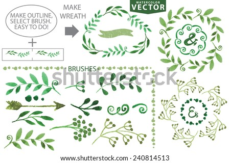 Set watercolor wreaths and laurels. Hand painted green branches,leaves,petal decor elements.For design template,invitation.Watercolor Hand sketcehd brushes. Nature,organic items.Vector.Easy to edit - stock vector