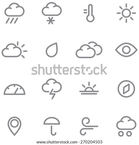 Set weather icons. Simple lines and gray color perfect for any project. - stock vector