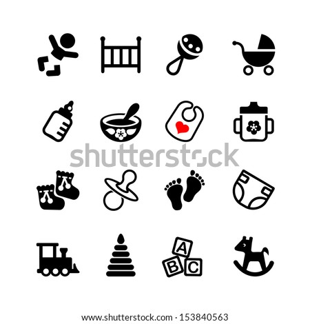 Set web icon. Baby, suckling, child - stock vector