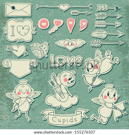 Set Wedding and Valentine's Day design elements. Vector illustration. - stock vector